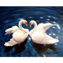 Couple Lover Swans in Water Hand Made Paint High Quality Canvas Beautiful Painting By Numbers Surprise Gift Great Accomplishment