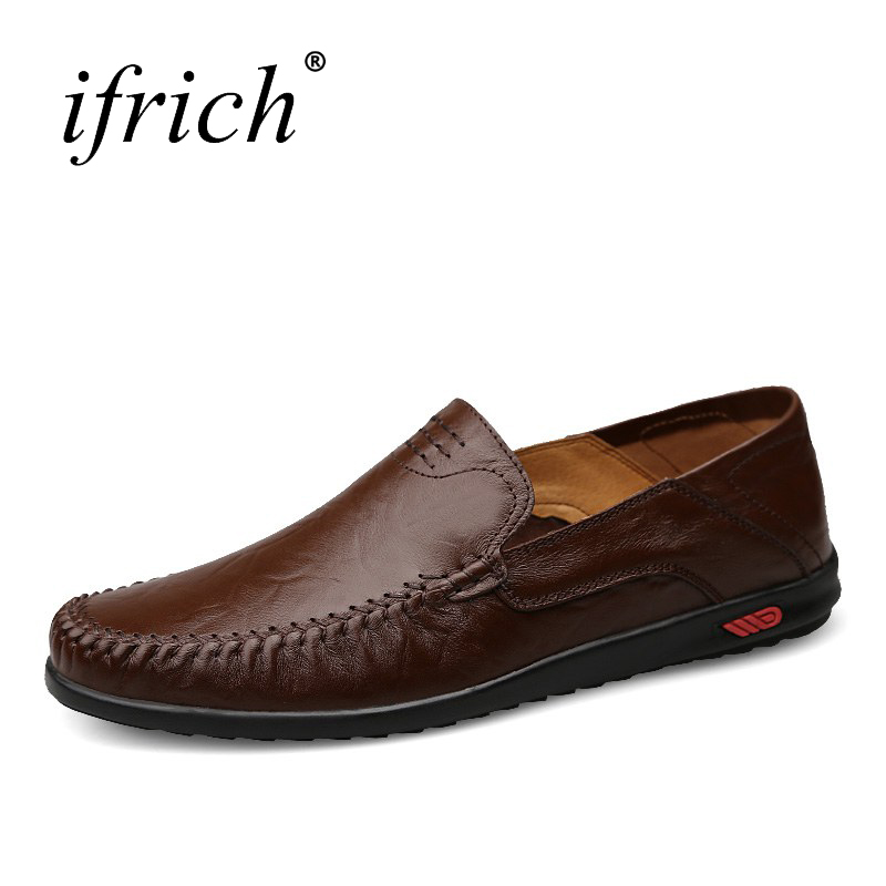Ifrich 2017 Man Shoes Leather Genuine Driving Shoes Slip On Men Shoes Luxury Brand Plus Size 38-46 Comfortable Casual Shoes Men branded men s penny loafes casual men s full grain leather emboss crocodile boat shoes slip on breathable moccasin driving shoes