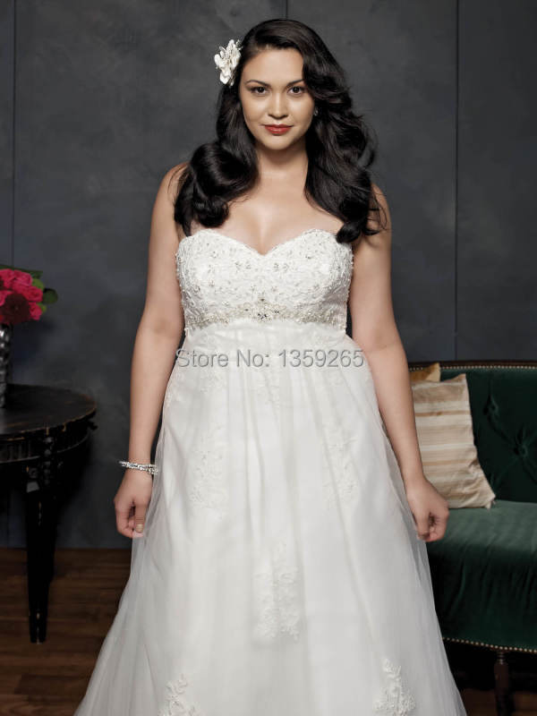 Size 22 Wedding Dresses Plus Vestidos De Boda Liques With Beading 2017 Sweetheart Bridal Gowns Organza Fw3019 In From