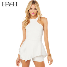 HYH HAOYIHUI Brand  New In Solid White Women Playsuits Hollow Out Off Shoulder Ruffle Hem Asymmetric Jumpsuit Sweet Playsuit
