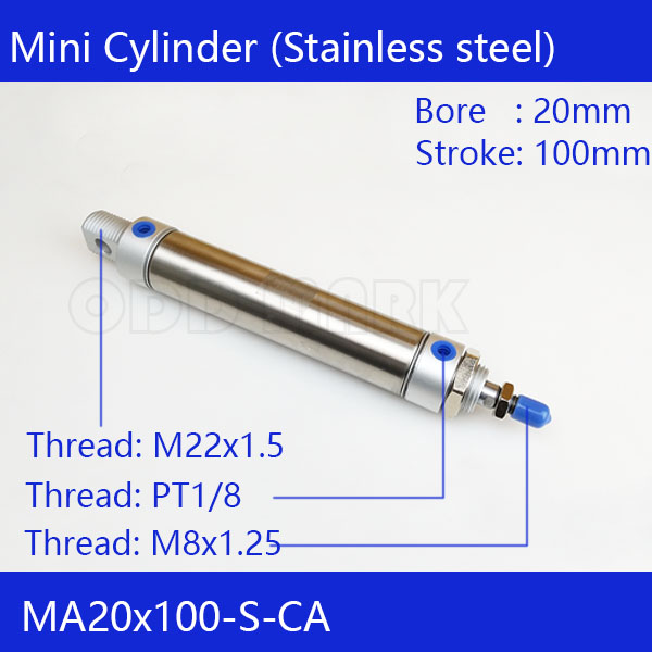 Free shipping Pneumatic Stainless Air Cylinder 20MM Bore 100MM Stroke , MA20X100-S-CA, 20*100 Double Action Mini Round Cylinders su63 100 s airtac air cylinder pneumatic component air tools su series