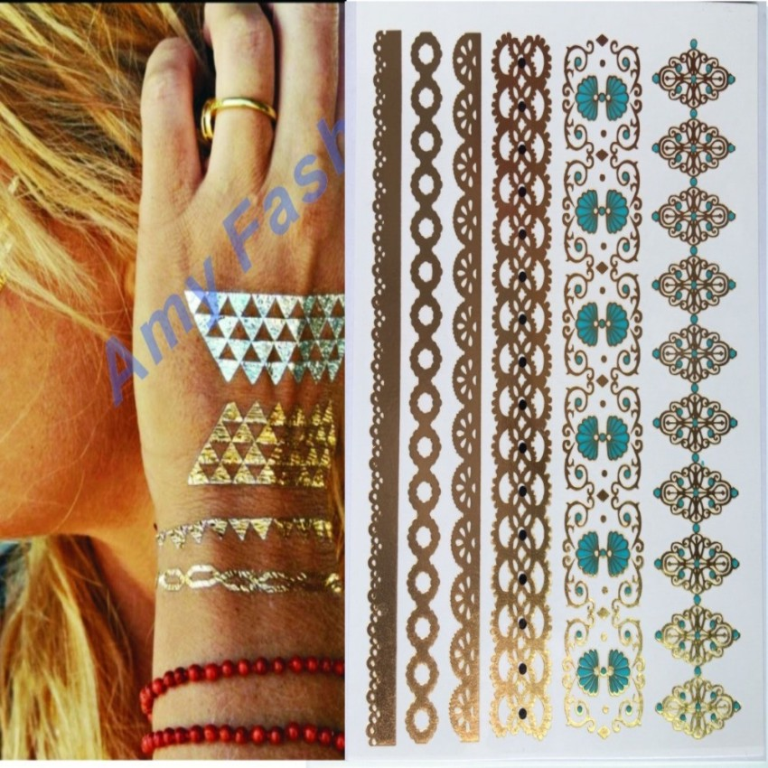 New Feather Tattoo Gold Temporary Tattoos Sticker Sex s
