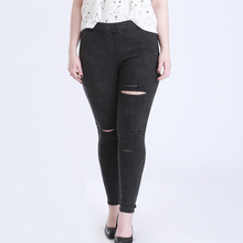 2016 Autumn New Women Jeans Ripped Holes Fashion Straight Famale Washed Denim Pants Cotton Trousers Large