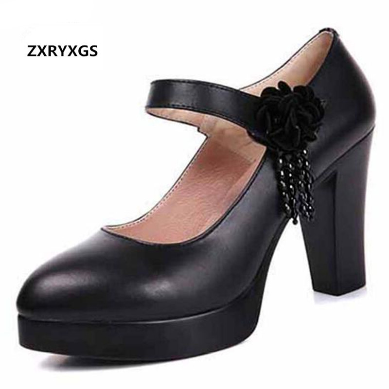 ZXRYXGS brand Cowhide Platform Women Pumps 2019 new Rhinestones Flowers Women Fashion Shoes High Heels Genuine