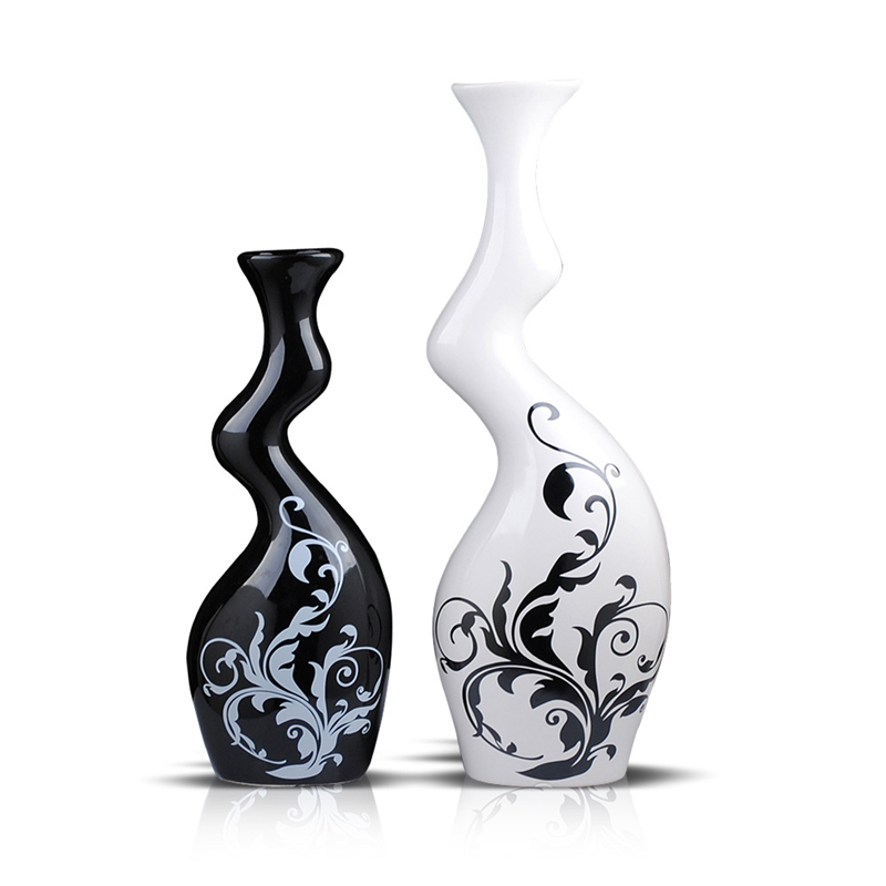 1 Pair Vase Modern Home Furnishing Ceramic Ornaments Black