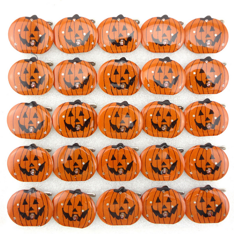 hot 5pcs children led flashing light up brooch halloween decoration pumpkin skull kids toys party games