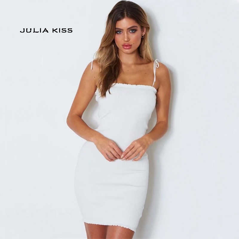 62ab5b289b120 Women Tie Shoulder Bodycon Rib Cami Dress with Ruffles Trimming Sexy Mini  Dresses