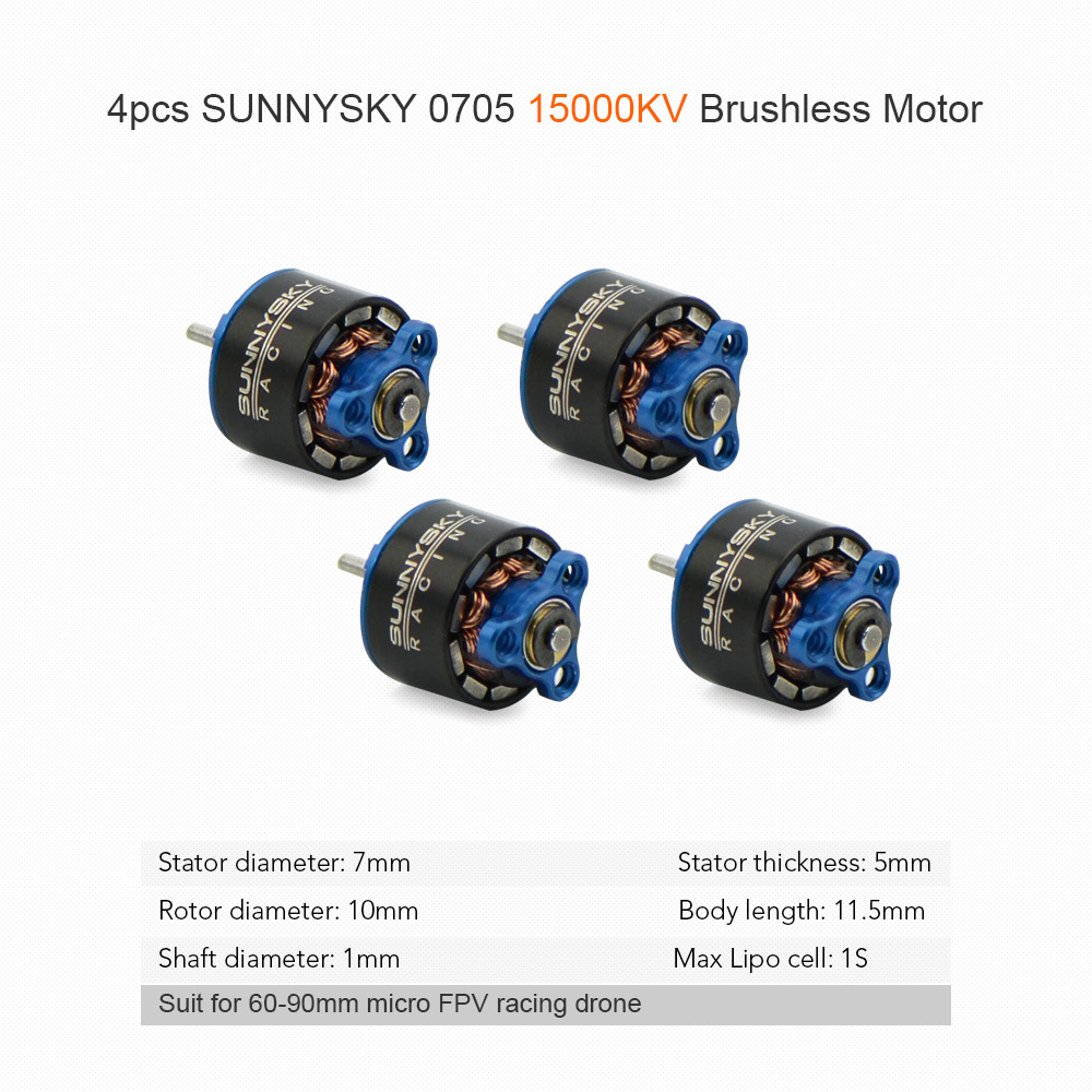 4pcs 0705 15000KV Metal RC Brushless Motor for 60 70 80 90mm Micro FPV Racing Drone Quadcopter RC Motor Electronic Dron Part 4pcs se1104 kv4000 kv6000 kv7500 brushless motor with 2pairs 2035 2045 propellers for rc quadcopter fpv racing drone