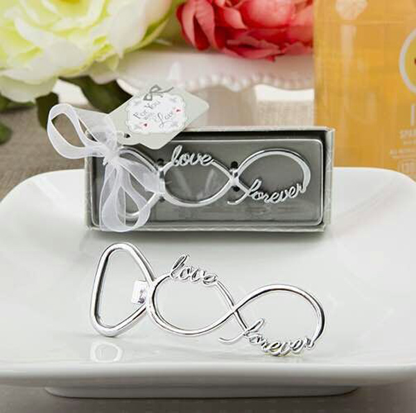 100PCS  Newest Forever   Love Chrome Beer Bottle Opener Wedding Favors And Gifts For Guests Party Gifts Supplier Bridal Shower