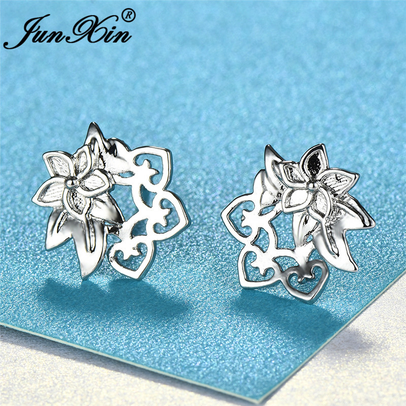 JUNXIN Cute Cherry Flower Stud Earrings For Women White Gold Filled CZ Star Heart Studded Earrings White Crystal Wedding Jewelry