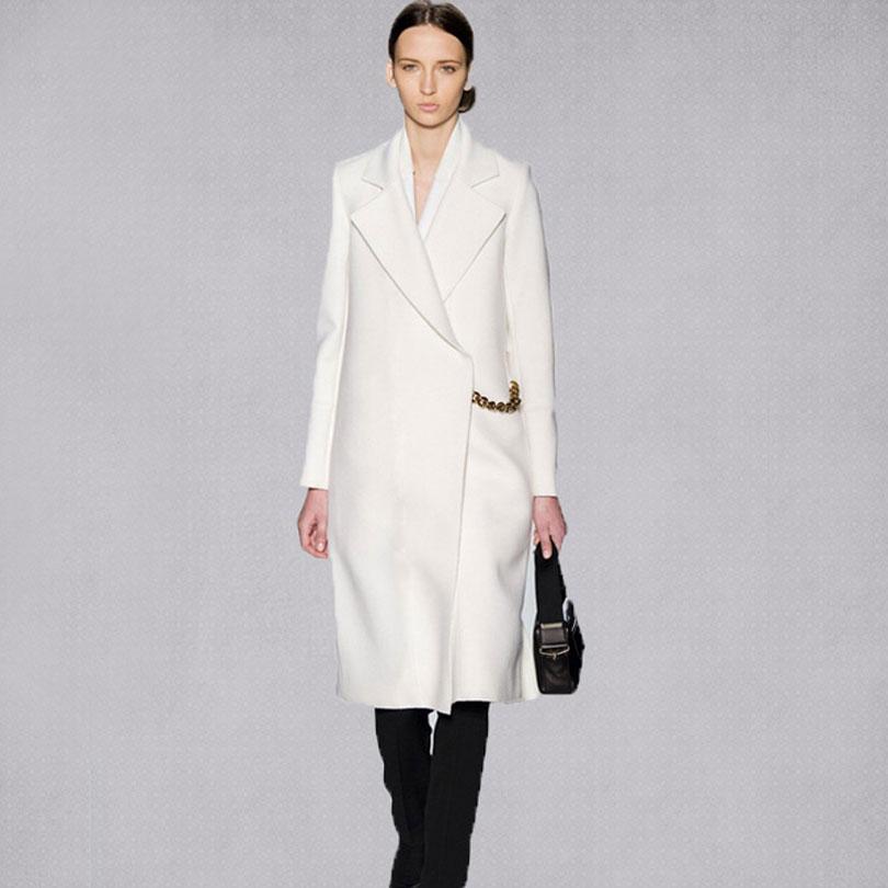 Winter White Cashmere Coat Fashion Women' 2017