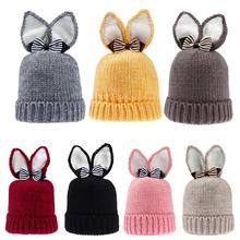 Winter Newborn Baby Warm Hat Kawaii Rabbit Ears Baby Knitted Hat Skullies Fashion Kids Boys Girls Beanie Caps with Warm Lining