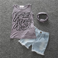 Summer girls beach Style cotton sets letter printing  sleeveless T-shirt+denim shorts+scarf three piece