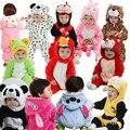 Nuevo 2016 infant bebé/cabrito/niños de dibujos animados de manga larga invierno de los mamelucos, niños/niñas animales mono mono, desgaste del bebé ropa