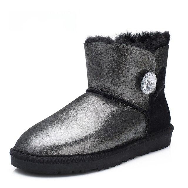 b28f7045e520 UVWP Fashion Genuine Sheepskin Leather Women Snow Boots 100% Natural Fur Winter  Boots Warm Wool