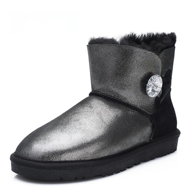 UVWP Moda Cuero Genuino de la Zalea de Las Mujeres Botas de Nieve 100% Piel Natural Botas de Invierno Caliente de las Lanas Del Tobillo Botas de Invierno Cálido Zapatos