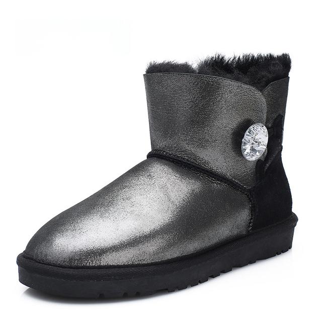 UVWP Moda Genuína Mulheres de Couro de pele de Carneiro Botas de Neve 100% Botas de Inverno Pele Natural para inverno Quente Lã Tornozelo Botas Quentes Sapatos de Inverno