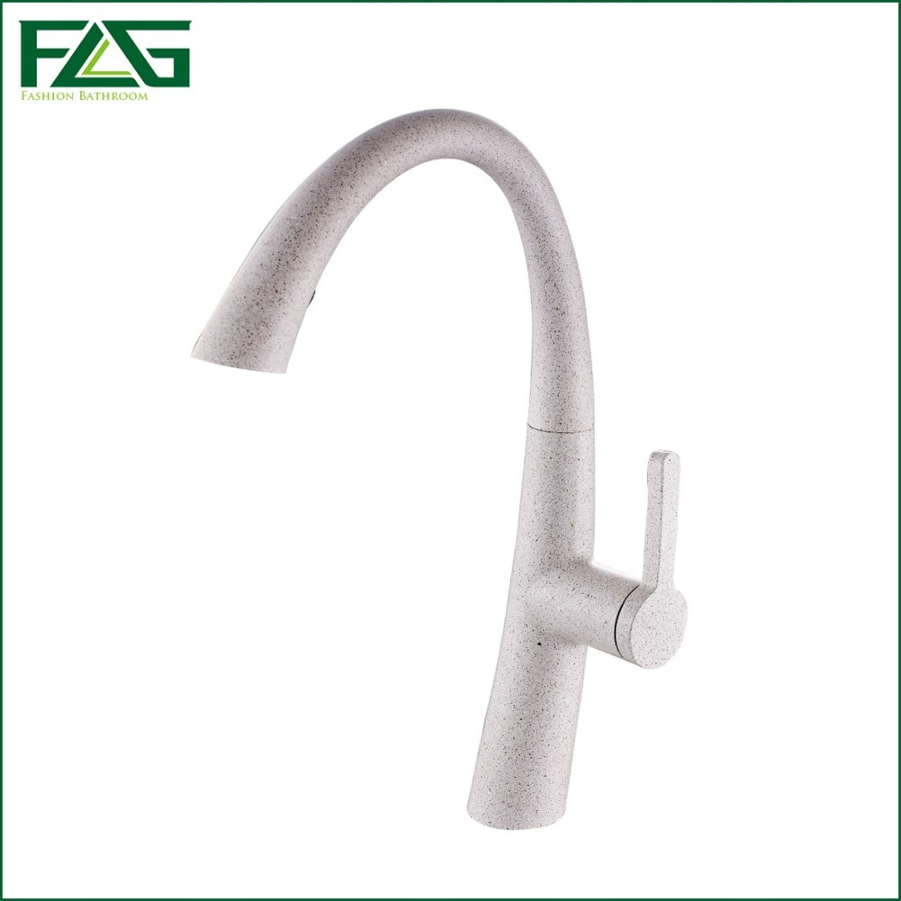 FLG Free Shipping Kitchen Faucet Pull Out Soild Brass Quartz Painting Deck Mounted Kitchen Water Tap Sink Mixer Wasserhahn C002Q free shipping soild brass lead free kitchen faucet mixer drinking water filter tap with filtered purified water spout wholesale