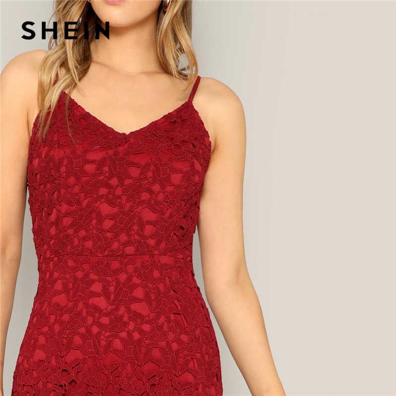 SHEIN Гламурное бордовое кружевное длинное летнее платье на бретельках, женское повседневное летнее платье 2019, летнее женское платье без рукавов в уличном стиле