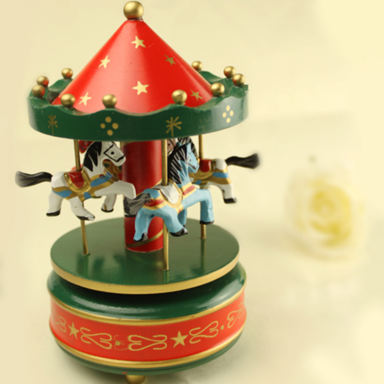 Unusual Gifts: Carousel Music Box Merry Go Round Wooden Christmas Gift