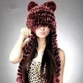 Женщины в шляпы зима 100% натуральная мех кролика рекс трикотаж шляпа с шарф кепка для женщины gorras милый мех шляпы для девочки