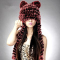Hot sale Women's hats winter 100% genuine rex rabbit fur knitted hat with scarf cap for women gorras cute fur hats for girls