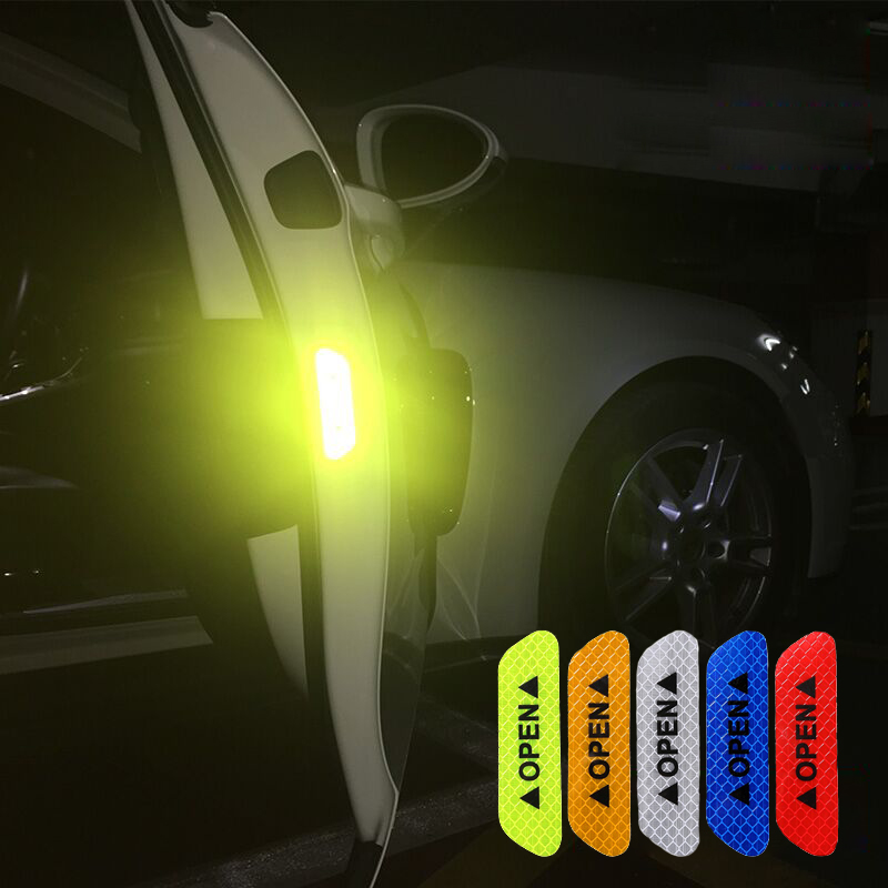 4Pcs/Set Car Door Open Warning Reflective Stickers Nighttime