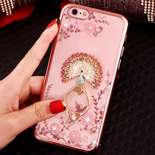Luxury Secret Garden Flowers Rhinestone Phone Case For iPhone 8 7 Plus 6 6S 5S Huawei P20 P10 P9 P8 Lite 2017 Plating Ring Cover(China)