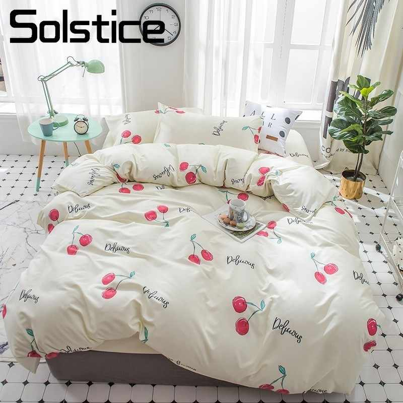 Solstice Home Textile Cherry Ecru Bedding Sets Girl Woman Kid Teen Adult Linens Duvet Cover Flat Bed Sheets Pillowcase King Twin