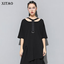 [XITAO] 2019 New Europe Casual Loose Half Sleeve Hollow Out Solid Color O-neck Fashion Women Summer Pullover T-shirt KZH149