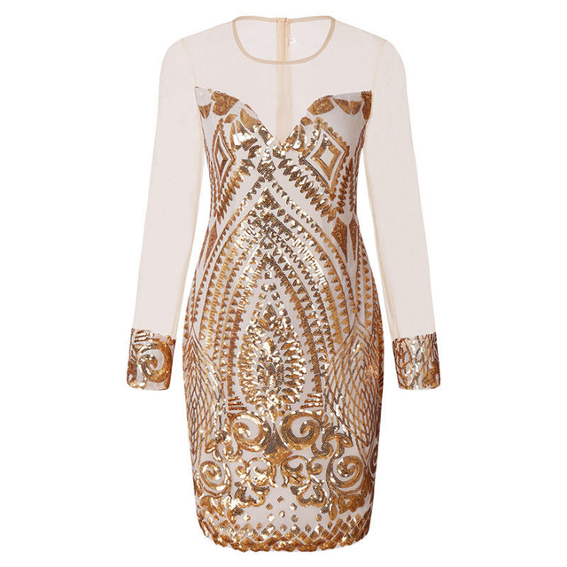 e97e20f96f1 Sexy Sequin Mini Dress Long Sleeve Mesh Splice Dresses Gold Spring Summer  Bodycon Party Dress Plus Size