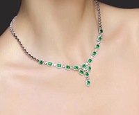 Uloveido Natural Green Emerald Anniversary Pendant Necklace Women 925 Sterling Silver Gemstone Necklace Pendant for Girl FN263