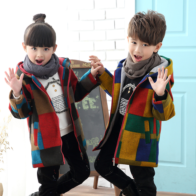 2018 Boys Girls Fashion Plaid Thickening Woolen Jacket Outerwear For Winter Children Medium-Long Trench Coat Kids Overcoat A123 women single breasted long cashmere coat 2017 new woolen coat women winter jacket overcoat female outwear casaco feminino trench