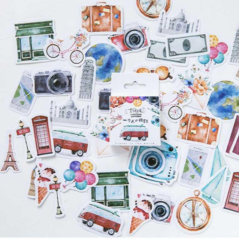 46 Pcs/box Travel Alone Mini Paper Stickers Decoration DIY Album Diary Scrapbooking Planner Label Sticker Kawaii Stationery