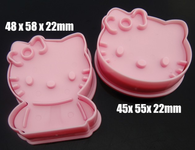 50PAIRS 100PCS Kitty Cutters Pastry Cartoon Shape Decoration Print Cutter Pink Color Fedex Fast Postage