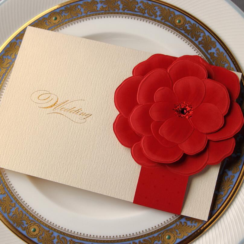 25 Pieces/pack Free Shipping Romantic Red Color Rose Wedding Invitation Cards for Wedding Day with Envelope 25 alluring rose