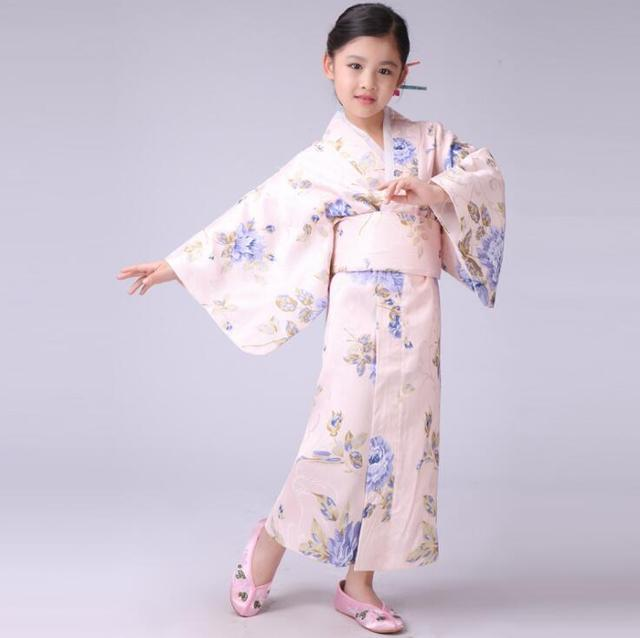 90f35daf31c8 Pink Japanese Baby Girl Silk Kimono Dress Traditional Children Yukata With  Obi Child Kid Girl Dance Dress Size S M L NK015-in Asia   Pacific Islands  ...