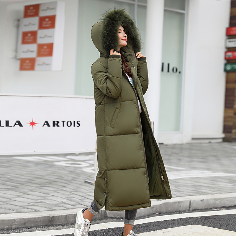 Winter Jacket Women 2018 Middle Long Cotton-padded Jackets Big Fur Hooded Collar   Parkas   Thicken Warm Winter Coat Female