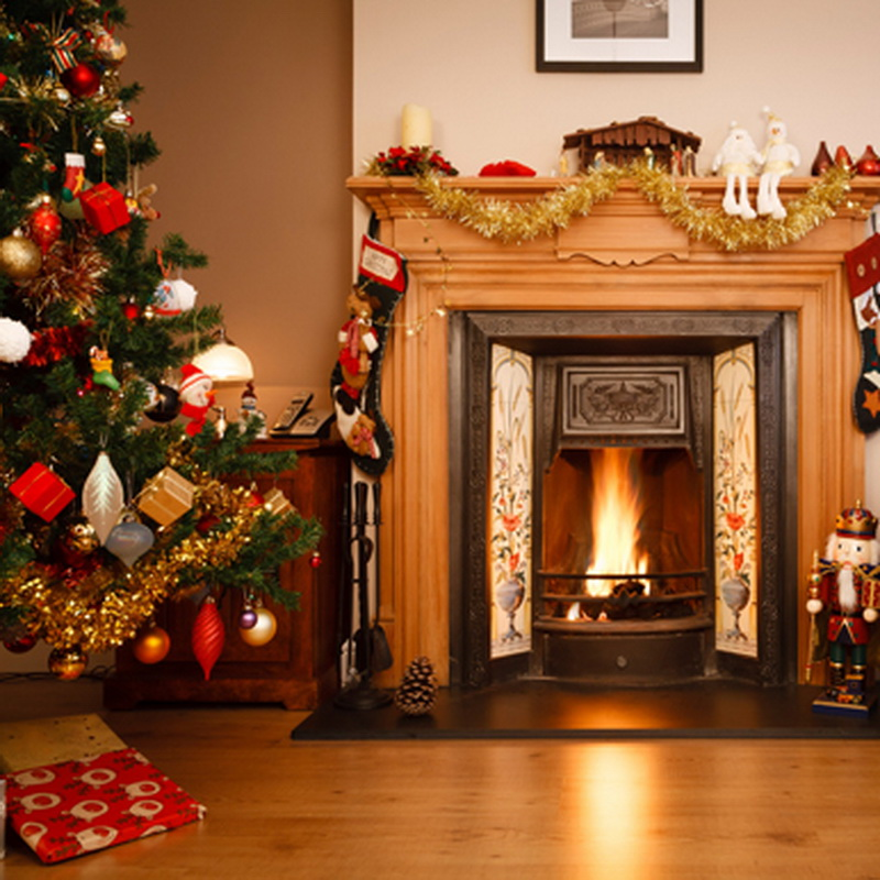 Wood Fireplace Photography Backdrops For Christmas Wooden