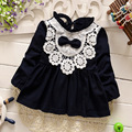 new 2016 spring autumn lace patchwork baby girls dress fashion princess dresses for newborn clothes suit4~13 month infants dress