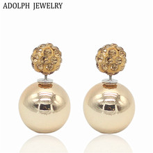 ADOLPH Jewelry Nice Gold Sliver Korean Crystal Two Ball Pearls Stud Earrings Fashion double Pearl Women