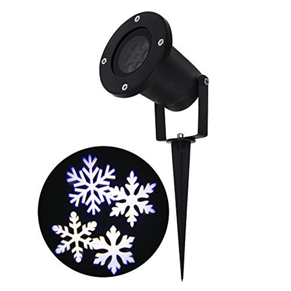 IP65 LED Snowflake Projector Christmas Lights, Waterproof Snowflake Spotlights Lamp Moving Automatically Landscape Lighting