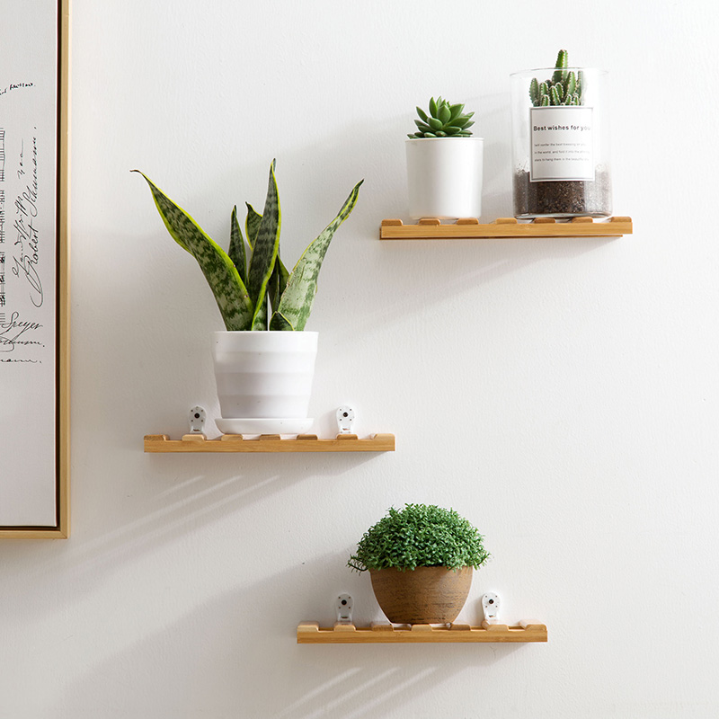 Us 96 32 Off2pcs Bamboo Living Room Decoration Hanger Wall Hanging Flower Shelf Bedroom Wall Partition Storage Rack For Flowers Plants In Bathroom