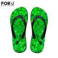 FORUDESIGNS Moda Mulheres De Borracha Flip Flops Flores Impresso Verão Senhoras Sandálias Sapatos Chinelos de Praia Chinelos Femininos Planas