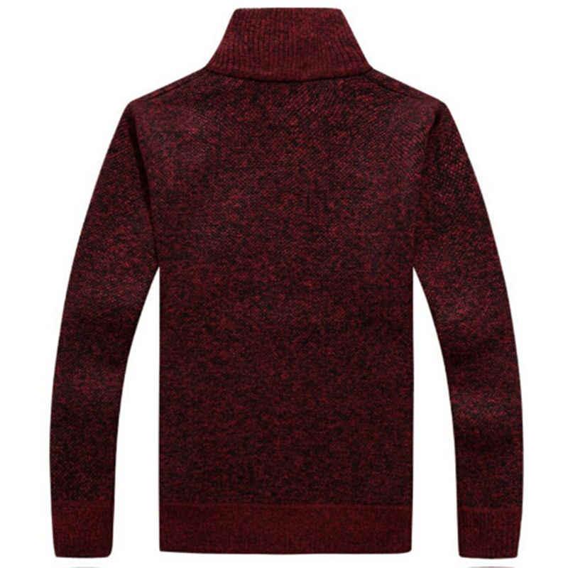 Baru pria Kardigan Sweater Mandarin Kerah lengan panjang tebal hangat rajutan sweater empat warna yang tersedia plus ukuran m-3xl