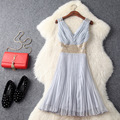 Europe and the United States women's clothing in the spring of 2017 the new v-neck pleated nail bead lace patchwork dress