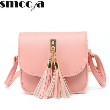 SMOOZA Mini Tassel Bag Women Clutches messenger bags cute fashion Women Small flap Bags Pu Leather Women Shoulder Bag grande bolsas femininas de couro