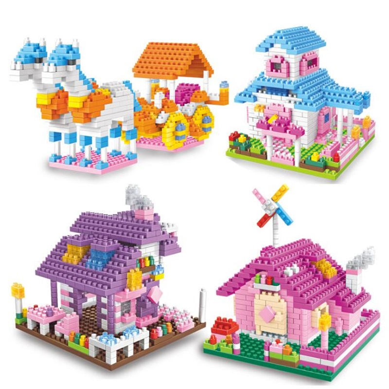 425+pcs DIY Colorful City House Roof Diamond Particle Building Blocks Castle Educational Toy For Children Compatible legoe duplo