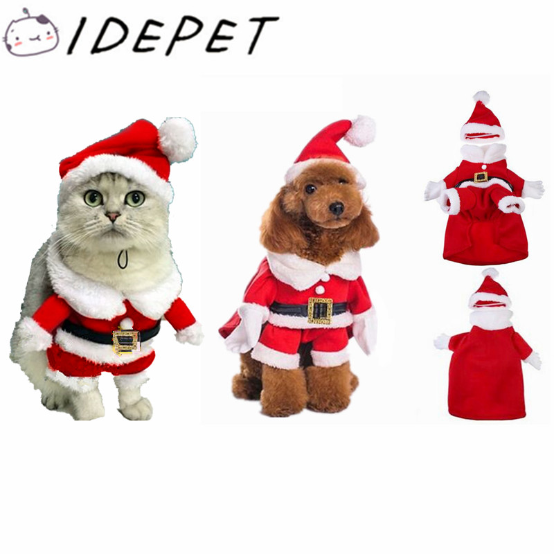 christmas cat clothes pet dog cat costume santa claus costume winter christmas pet coat apparel cotton clothes for cat dog 27 in dog coats jackets from - Santa Claus Coat