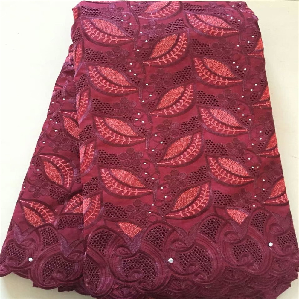 Wine Mix Red African Cotton Swiss Embroidery Voile Lace Fabric For Nigerian X540 6
